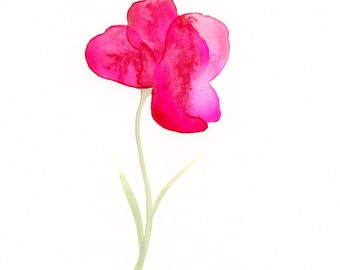 "Original watercolor flower painting: ""Fuchsia Flower"""