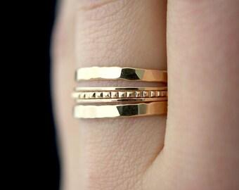 SOLID 14K Gold Lined stacking ring set, 14K gold ring, solid gold stacking ring, gold twist ring set, delicate gold ring, 14k gold, set of 5