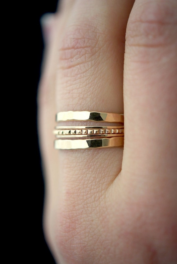 SOLID 14K Gold Lined stacking ring set 14K gold ring solid