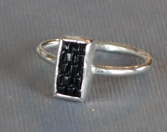 Antique Glass Button Ring, Rectangle Black Statement Ring, Carved Glass Ring, Brick Pattern, Size 7
