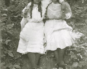 vintage photo 1909 Young women ringlet Long Hair Big Bows White summer Dresses Affectionate