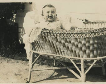 vintage photo 1926 Cutest Dimple Smiling Baby in a Basket GEtting sunshine
