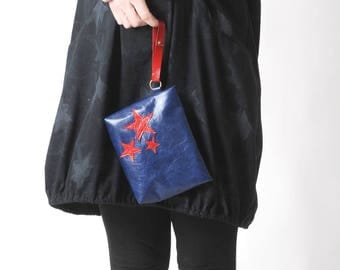 """Blue leather pouch, handheld leather pouch with red star, Blue and red purse, blue varnished leather purse, MALAM, 8x6"""" - 20x16"""