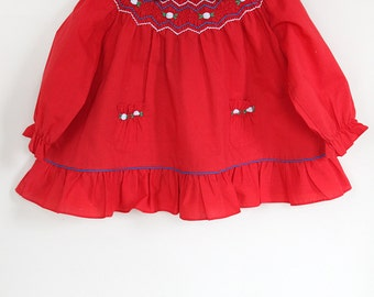 Vintage Red Baby Dress / Vintage Smocked Baby Dress / Red Dress White Flowers / Size 12 Months