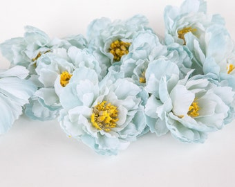 Set of 9 Wild Peonies in Light Blue - Silk Flowers - Artificial Flowers -read description-  ITEM 01059