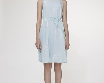 NEW Faces Print Dress. Aqua Blue Tent Loose Dress. Holiday, Cocktail, Day Dress. Spring Fashion. Lucie Dress SS17