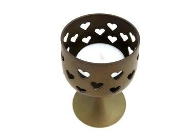 Vintage Brass Tealight Holder, Heart Cut out Lantern, Pedestal Votive Goblet Candle Holder, Romantic Dinner Table Setting Lighting