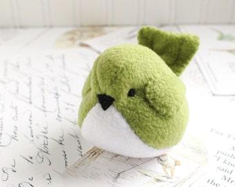 Plushie Light Green Fleece Bird Stuffed Animal Childrens Handmade Plush Toy Stuffie