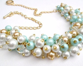Aqua Mint White and Gold Pearl Necklace, Wedding Jewelry, Pearl Chunky Beaded Necklace, Bridesmaid Gift, Mint Wedding, Cluster Necklace