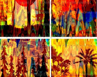 Artist Created 4 Fabric 100% Cotton Sateen Art Prints Landscape Tree Aurora Borealis Sunset Quilting