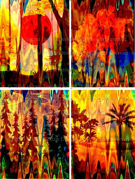 Artist Created 4 Fabric 100% Cotton Sateen Art Prints Landscape Tree Aurora Borealis Sunset Quilting