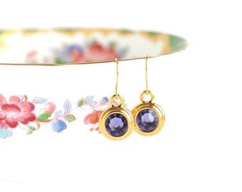 December Birthstone Earrings - December Birthday Gift - Birthstone Dangle Earrings - Birthday Stone Jewelry - Tanzanite Birthstone Earrings
