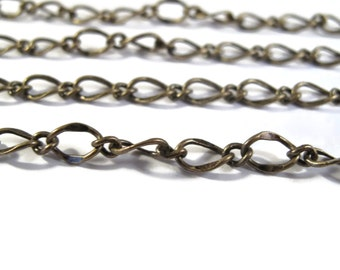 Antique Brass Fancy Curb Chain, Antique Brass Chain By the Foot, 7.5mm x 5mm Chain for Making Jewelry (FS cb/265/fab)