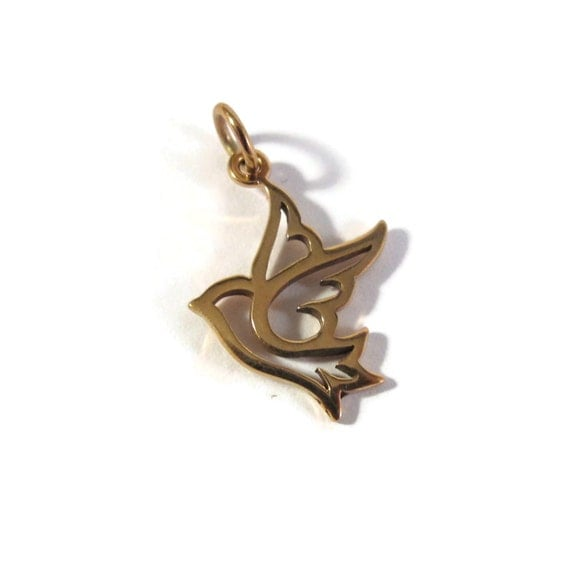 Gold Bird Charm, Peace Dove, Natural Bronze Pendant for Charm Necklaces and Bracelets, 18mm x 13mm, Jewelry Supplies (CH 561b)