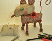RESERVED for Carol , ooak rat art doll, sandy mastroni,original strange art,  mouse art , creature art ,fabric sculpture, shelf art