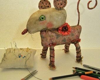 ooak rat art doll, sandy mastroni,original doll,bizarre, strange art, unique art doll, mouse art , creature art ,fabric sculpture, shelf art