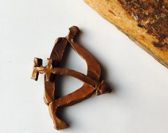 Bow and Arrow, Copper Clay Charm, Copper Bow and Arrow, Copper Clay Pendant, Etsy, Etsy Supplies