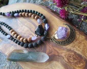 Sale - Double Strand Statement Moon Necklace - Choker Amethyst Crystal - Purple Black Brown Brass Witch Wicca - Bohemian Gypsy Jewelry Luna