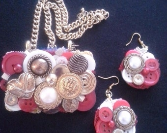 Vintage Inspired Assemblage Statement Button Necklace and Earring Set