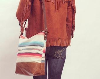 Boho Weekender, Stylish School Bag, Boho Laptop Bag, Boho Diaper Bag, Southwestern Bag. Leather CrossBody, Boho Chic Bag,  Ready to Ship