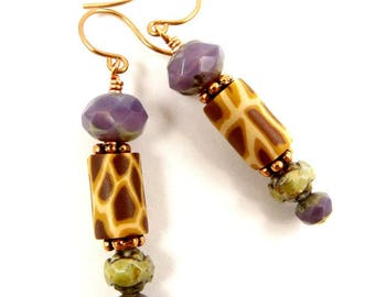 Giraffe Earrings April Earrings Animal Print Jewelry Elegant Glass Dangles Purple Sage Green Brown Reticulated Copper Jewelry