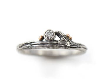Handmade Diamond and Roses Sterling Silver, 14k Rose Gold Twig Engagement Ring