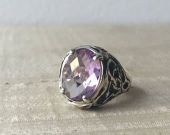 Rose de France Amethyst and Sterling Silver- The Tangled Vine Ring