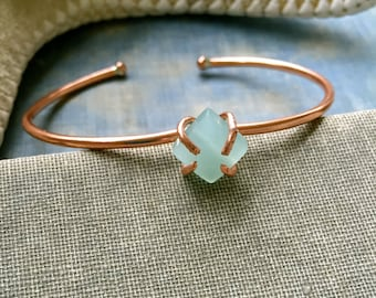 Gemstone bangle,rose gold bangle,gemstone cuff,boho bracelet,stackable bracelet,thin copper cuff.Tiedupmemories