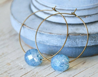 Orb hoop earrings, large hoop earrings , blue earrings, simple hoop earrings. Tiedupmemories