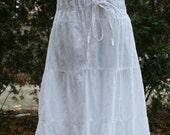 White peasant hippie sun dress sundress India cotton large