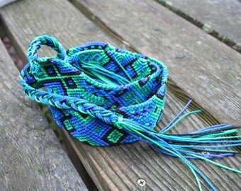 Giant huge XL Friendship bracelet belt blue green hippie sash Guatemalan belt woven tie