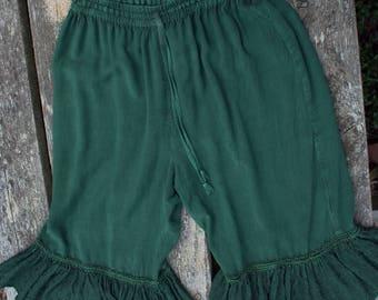 Dark green bloomers hippie pantaloons India rayon XL L frilly bottom festival capri