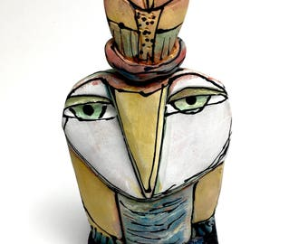 "Owl art, handmade one of a kind ceramic owl art,""Owl Mother and Child. Springtime!"", 6"" tall"