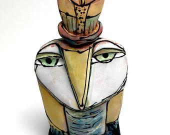 "Owl art, handmade one of a kind ceramic owl art,""Owl Mother and Child. Springtime!"", 6"" tall"