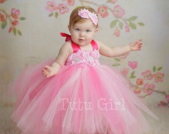 Pink Tutu Dress Flower Girl Toddler Baby Custom Length