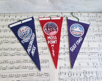 Three Little Vintage Mississippi Souvenir Pennants - Gulf Coast, Moss Point, Pasagoula