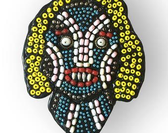 Folk Art Beaded Woman Monster Portrait Contemporary Wall Art Assemblage