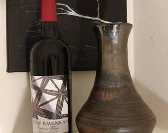 Handmade metallic stoneware vase