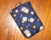 Travel Medication or Jewelry Holder with Quilted Japanese Fabric Case Maneki Neko Design Navy