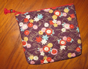 Quilted Travel Earring Cosmetic Pouch Floral Design Japanese Asian Fabric Mulberry