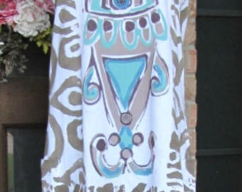 Handpainted Ladies taupe brown and teal plus size cotton tank top