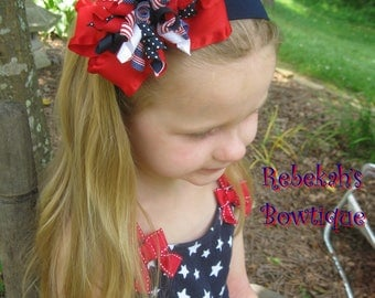4th of July hair bow, July 4th headband, red white blue hair clips, 4th of July headband, Military hair bows, Patriotic headband, infant bow