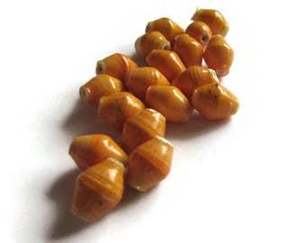 20 10mm Orange Beads Ugandan Paper Beads Fair Trade Beads Sealed Paper Beads African Paper Beads Upcycled Beads Recycled Beads