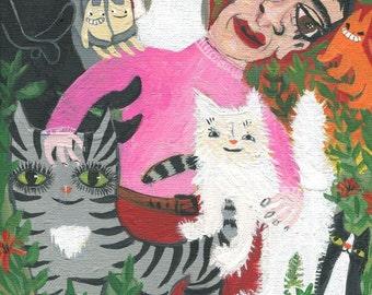 Crazy Cat Man Art Print - Many Rescue Cats - Quirky Outsider Folk Artwork Wall Decor - Orange Tiger Grey Black Kitty Cats