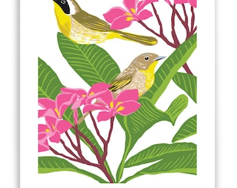 Yellowthroat in Plumeria Art Reproduction