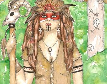Pagan Art Female Shaman Neolithic Priestess Original Watercolor Painting Fantasy Art Goddess Art Divine Feminine Sacred Art Spiritual Altar