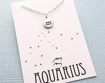 Aquarius Jewelry | Tiny Aquarius Necklace, Zodiac Jewelry, Zodiac Necklace, Celestial Jewelry, Astrology Jewelry, Zodiac Sign Necklace
