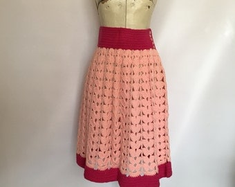 Crocheted Skirt in Peach Pink and Hot Pink Open Knit Peek A Boo Hand Made Small
