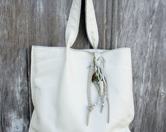 White Leather Shoulder Bag with Deer Antler Fringe by Stacy Leigh