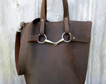 Tall Equestrian Bag in Walnut Brown Distressed Leather by Stacy Leigh